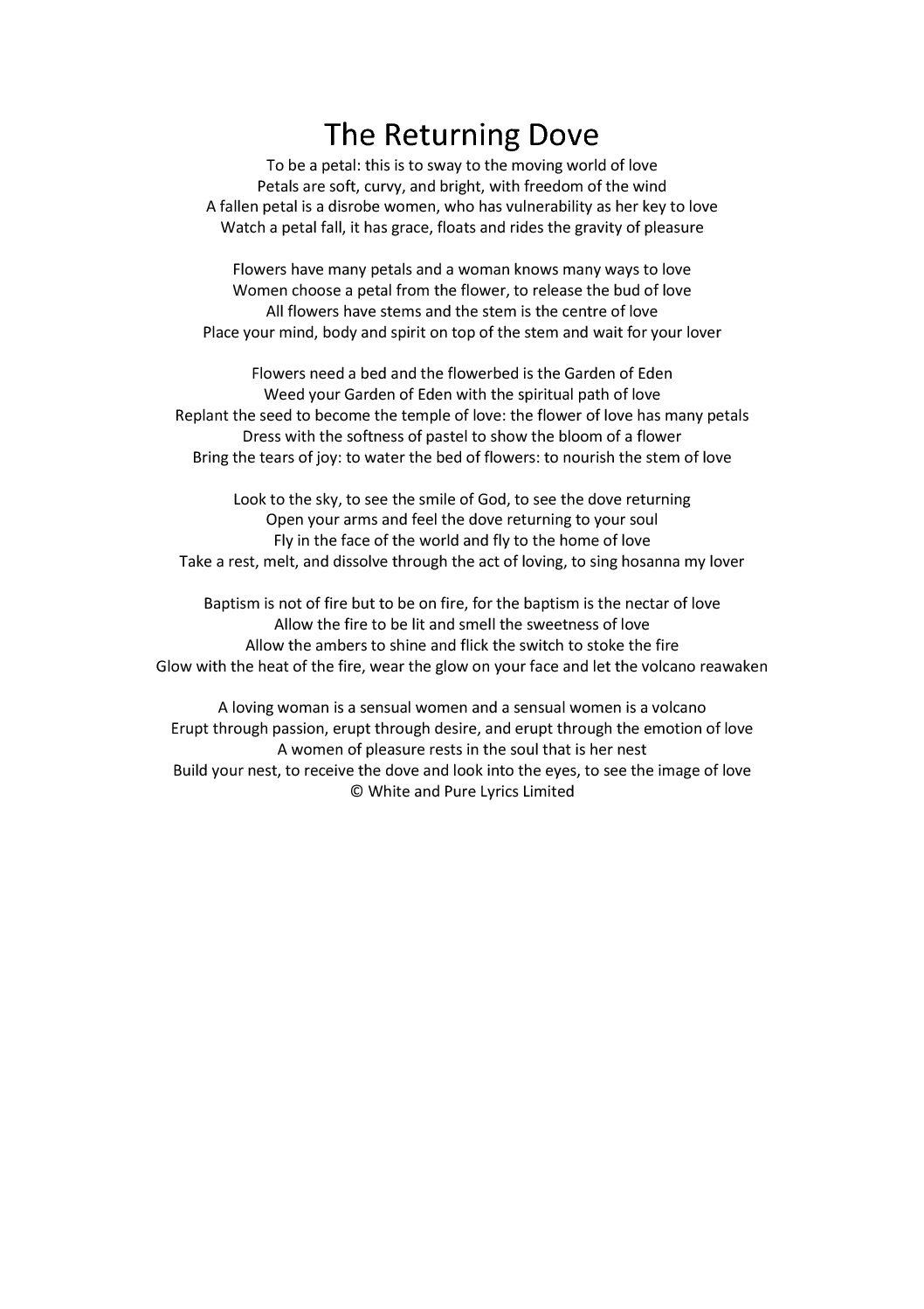Poetry – White & Pure Lyrics